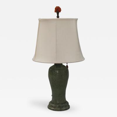 Glazed Pottery Vase Mounted as Lamp