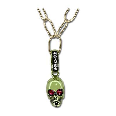 Glenn Bradford Fine Jewelry 18kt Green Gold Ruby Skull Charm