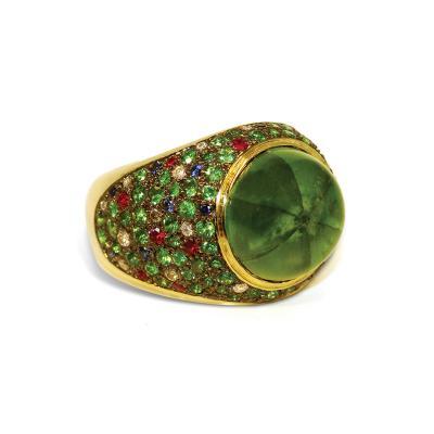 Glenn Bradford Fine Jewelry 18kt Green Gold Trapiche Emerald Cocktail Ring