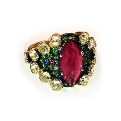Glenn Bradford Fine Jewelry 18kt Green Gold Tutti Frutti Cocktail Ring II
