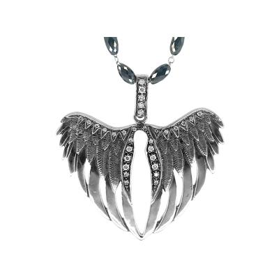 Glenn Bradford Fine Jewelry 18kt White Gold Mid sized Heart shaped Diamond Angel Wing Charm