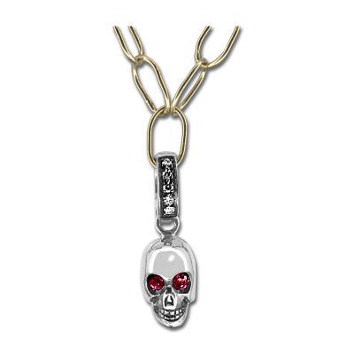 Glenn Bradford Fine Jewelry 18kt White Gold Ruby Skull Charm