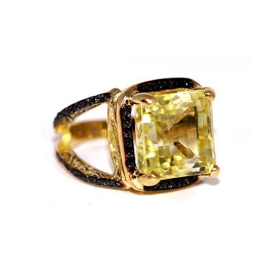 Glenn Bradford Fine Jewelry 4 Prong Citrine Pave Split Shank Cocktail Ring