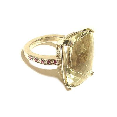 Glenn Bradford Fine Jewelry 4 Prong Pave Cocktail Ring w Center Green Amethyst