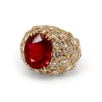 Glenn Bradford Fine Jewelry 7 94 Center Thai Red Ruby Cocktail Ring in 18kt Gold