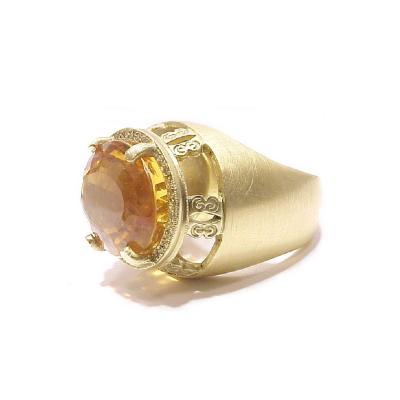 Glenn Bradford Fine Jewelry Bulbous Center Oval Citrine w Pave Diamond Cocktail Ring