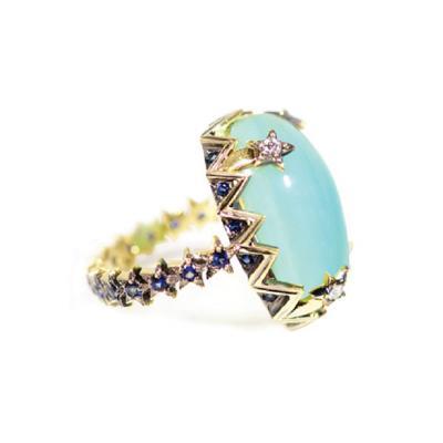 Glenn Bradford Fine Jewelry Cabochon Peruvian Opal Sapphire Cocktail Ring