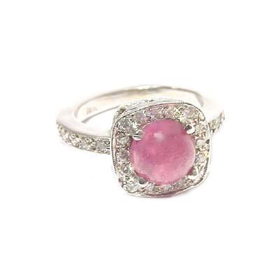 Glenn Bradford Fine Jewelry Cabochon Ruby In Cushion Frame w Pave Diamond