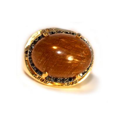 Glenn Bradford Fine Jewelry Cabochon Rutilated Quartz Cocktail Ring