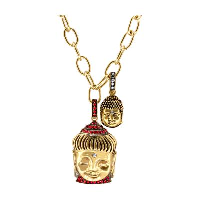 Glenn Bradford Fine Jewelry Charm Necklace with Aspiring Buddha and Buddha of Wisdom Charms