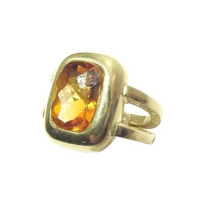Glenn Bradford Fine Jewelry Curvaceous Cushion Bezel set Center Citrine Cocktail Ring