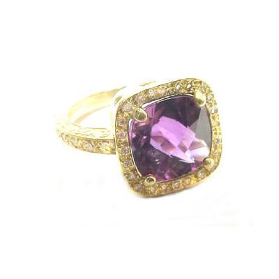 Glenn Bradford Fine Jewelry Cushion shaped Dark Amethyst w Pave Diamonds