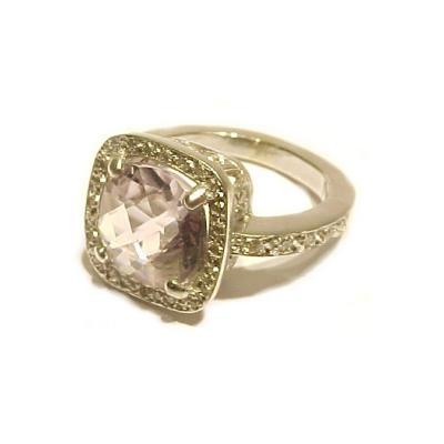 Glenn Bradford Fine Jewelry Cushion shaped Light Amethyst w Pave Diamonds