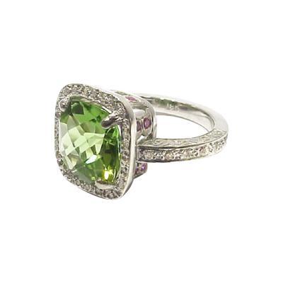Glenn Bradford Fine Jewelry Cushion shaped Peridot Pave Diamond Pink Sapphire Ring