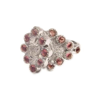 Glenn Bradford Fine Jewelry Heart Shaped Center Diamond w Bezel Set Pink Rhodolites Cocktail Ring