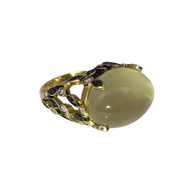 Glenn Bradford Fine Jewelry Heaven Earth 18kt Green Gold Green Cabochon Moonstone Vine Cocktail Ring