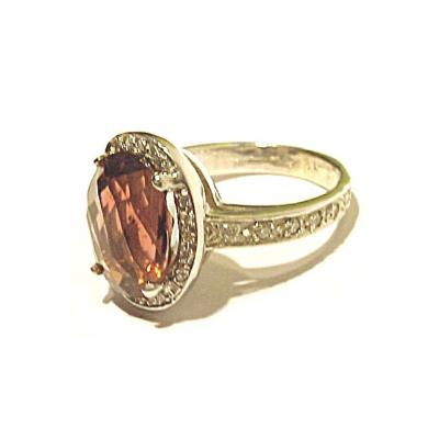 Glenn Bradford Fine Jewelry Oval Pink Tourmaline Center w Pave Diamond Cocktail Ring