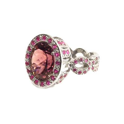Glenn Bradford Fine Jewelry Oval Pink Tourmaline w Pave Pink Sapphire Cocktail Ring