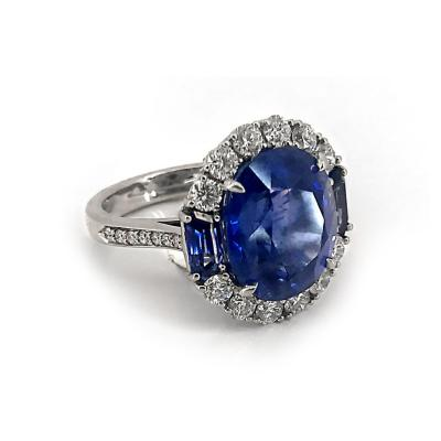Glenn Bradford Fine Jewelry Platinum No Heat Certified Center Burmese Sapphire Diamond Cocktail Ring