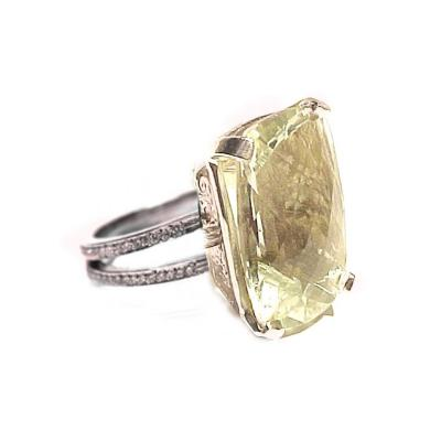 Glenn Bradford Fine Jewelry Rectangular Cushion Citrine w Split Shank Diamond Pave Cocktail Ring