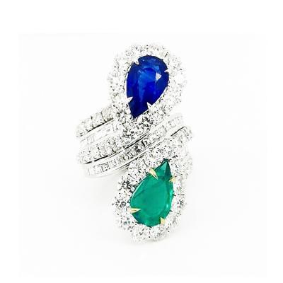 Glenn Bradford Fine Jewelry Sapphire Emerald Twin Bypass Cocktail Ring