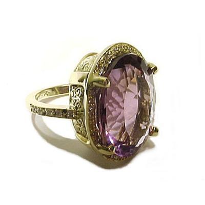 Glenn Bradford Fine Jewelry The Annette Double Sided Rose cut Purple Amethyst Diamond Pave