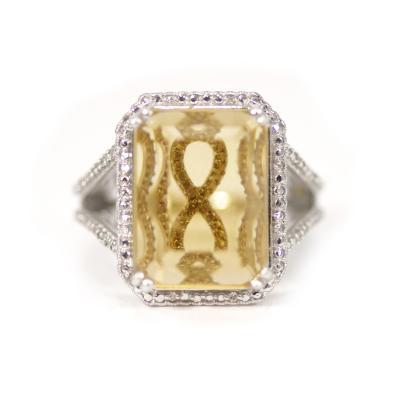 Glenn Bradford Fine Jewelry The Kristine Citrine Sterling Diamond Cocktail Ring