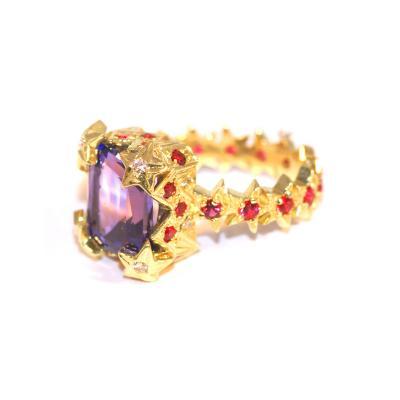 Glenn Bradford Fine Jewelry The Lyna III Center Tanzanite Pink Sapphire Pave Cocktail Ring