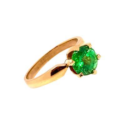 Glittering Gemjunky Green Tsavorite Solitaire 18K Gold Ring