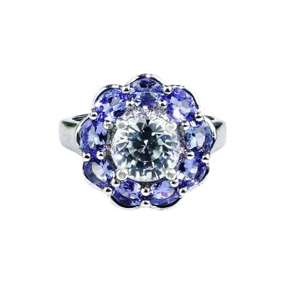 Glittering Round Zircon Surrounded by Tanzanite Sterling Silver Cocktail Ring