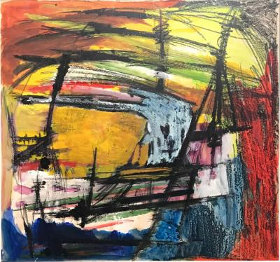 Gloria Dudfield Storm at Sea Oil Pastel Gouache Abstract Bay Area Female Artist