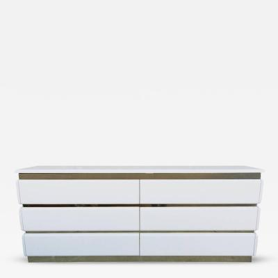 Glossy White Lacquer and Brass Six Drawer Dresser by Rougier