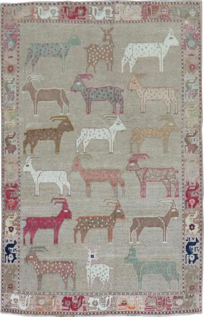 Goat Deer Animal Persian Gabbeh Rug rug no 31500