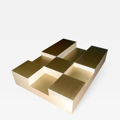 Goatskin and Brass Cube Design Coffee Table