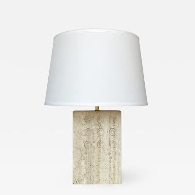 Goffredo Reggiani Italian Travertine Table Lamp by Reggiani for Raymor