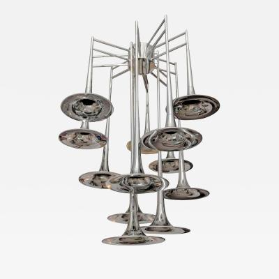 Goffredo Reggiani Large Vintage Chrome Trumpet Chandelier by Reggiani Italy