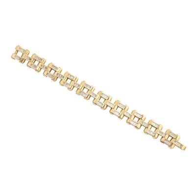 Gold And Baguette Diamond Link Tank Bracelet