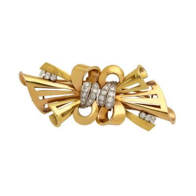 Gold Bow Brooch Double Clip With Diamonds