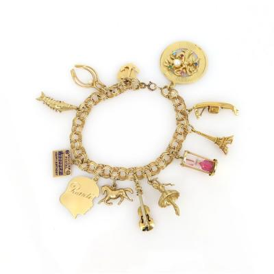 Gold Charm Bracelet with 12 charms