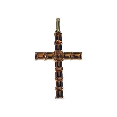 Gold Citrine Cross Crucifix Pendant 20th Century
