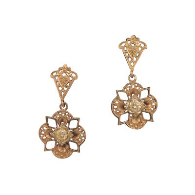 Gold Dangle Earrings with Diamond