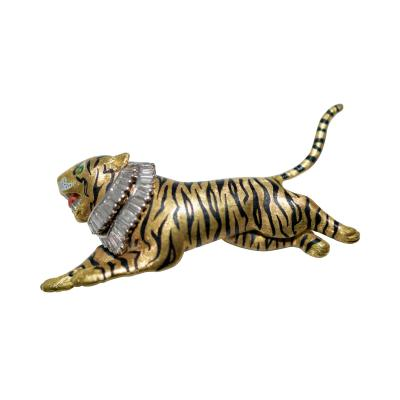 Gold Diamond and Enamel Tiger Brooch