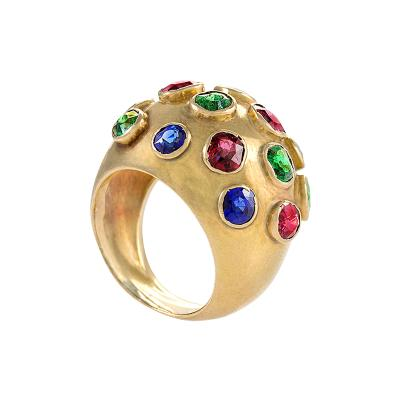Gold Domed Ring with Sapphires Rubies and Emeralds