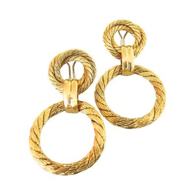 Gold Doorknocker Earrings circa 1960