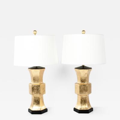 Gold Leaf Porcelain Table Task Lamps