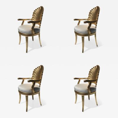 Gold Leafed Venetian Grotto Style Shell Armchairs