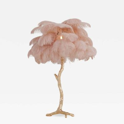 Gold Palm Tree Lamp With Pink Feathers 2018