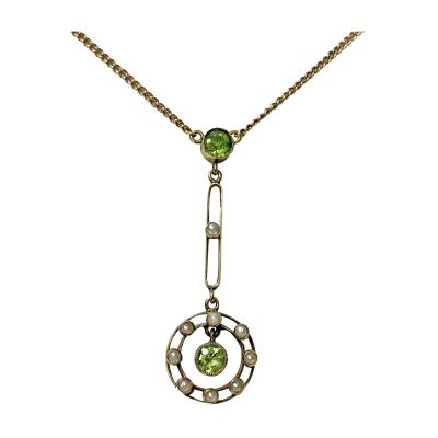 Gold Peridot and Pearl Pendant Necklace American C 1910