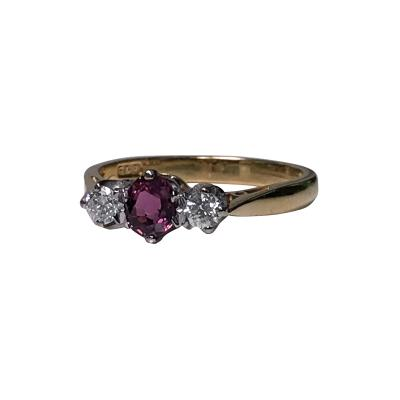 Gold Ruby and Diamond Ring London 1986