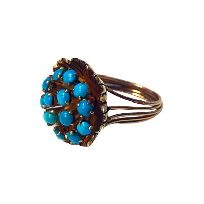 Gold Turquoise Cluster Ring Butter Cup Design C 1960